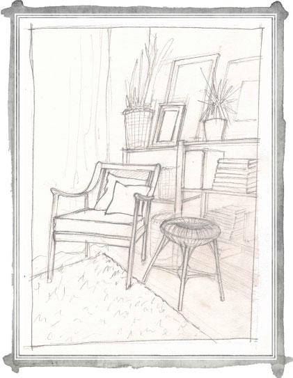 sketch of living room