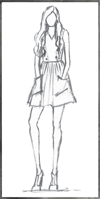 sketch of look from Twenty8Twelve AW 2013 runway show