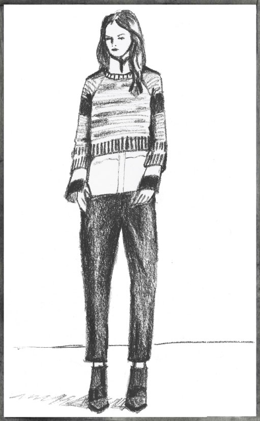 sketch of look from Nicole Fahri AW 2013 runway show