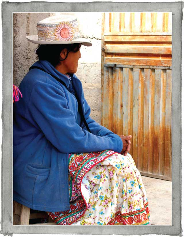 Peruvian woman wearing traditional hat
