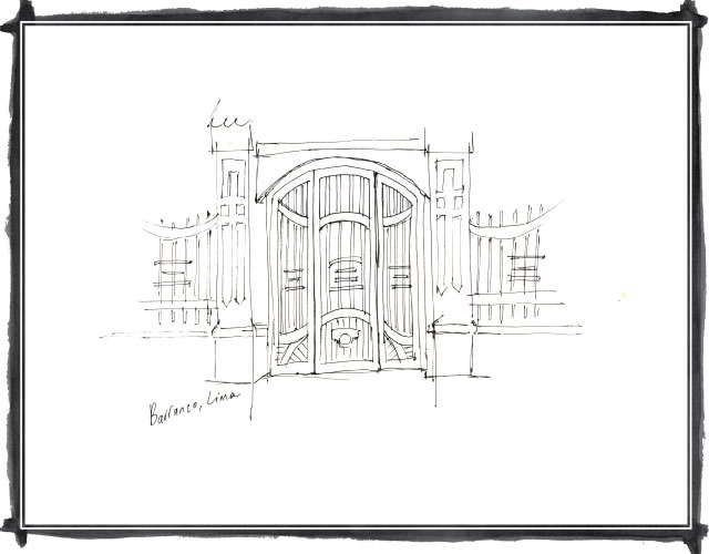 Quick sketch of a gate in Barranco, Lima