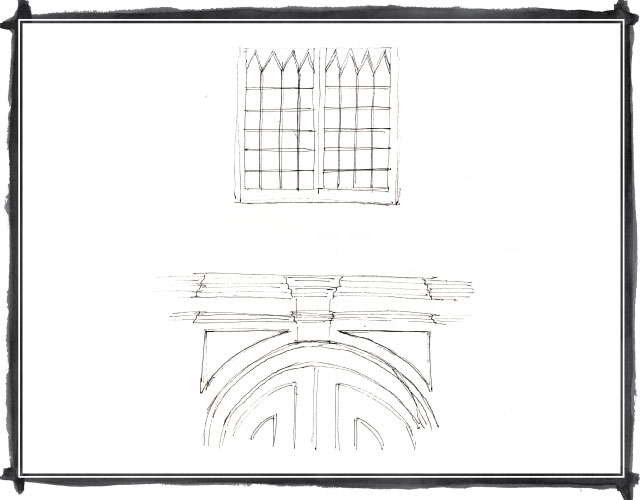 Quick sketch of part of window and doorway in Barranco, Lima