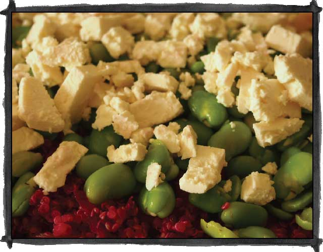 Quinoa Salad with Beetroot, Broad Beans and Feta