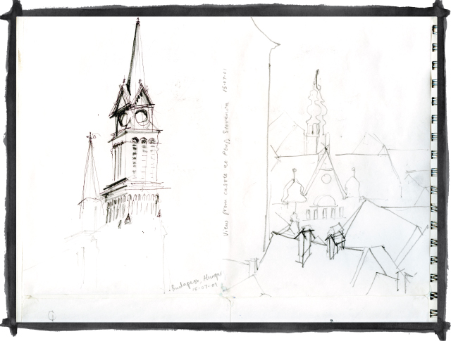 Kate Mawby's sketch of Budapest, Hungary & Ptuj, Slovenia
