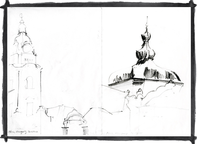 Kate Mawby's sketch of Pécs, Hungary