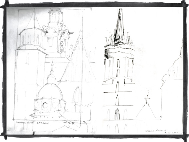 Kate Mawby's sketch of Cracow, Poland
