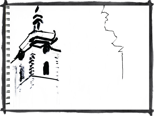 Kate Mawby's sketch of buildings in Eastern Europe