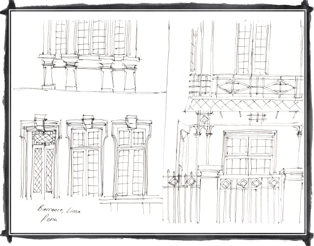 Quick sketch of buildings in Barranco, Lima
