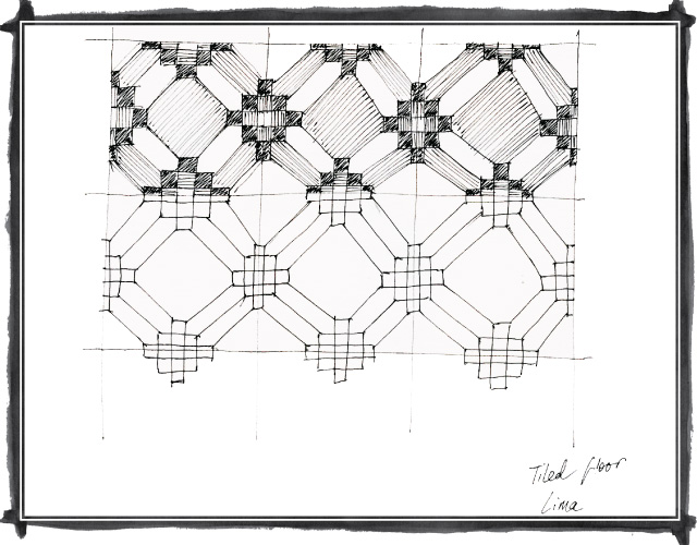 Sketch of tiled floor pattern in Lima, Peru