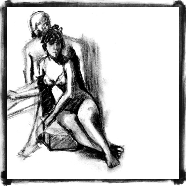 life drawing charcoal sketch by Kate Mawby 2009