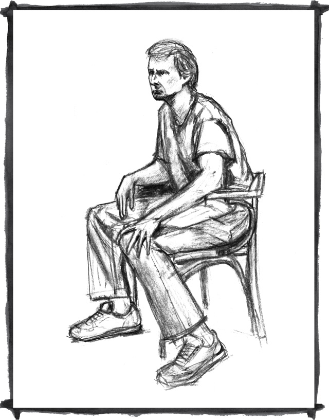 charcoal sketch of seated man by Kate Mawby 2009