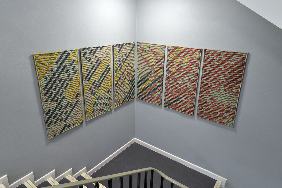 Kate Mawby Knitted Textile Wall Panels - final Masters project on display at Bath Spa University